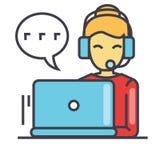 Εργαζόμενος τηλεφωνικών κέντρων, γυναίκα στην κάσκα που χρησιμοποιεί το lap-top, έννοια υποστήριξης πρακτόρων πελατών ελεύθερη απεικόνιση δικαιώματος