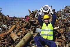 Εργαζόμενος του στροφέα λαβής μήνα όπως τους κυπελλούχους στοκ εικόνες με δικαίωμα ελεύθερης χρήσης