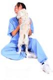 εργαζόμενος υγειονομικής περίθαλψης θηλυκών σκυλιών Στοκ φωτογραφία με δικαίωμα ελεύθερης χρήσης
