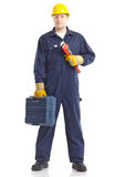 εργαζόμενος υδραυλικώ& στοκ φωτογραφία