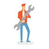 Εργαζόμενος υπηρεσιών γαλλικών κλειδιών λαβής ατόμων Στοκ εικόνες με δικαίωμα ελεύθερης χρήσης