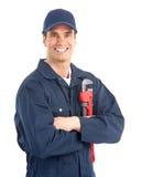εργαζόμενος υδραυλικώ& Στοκ Εικόνα