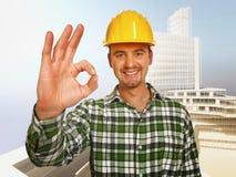 εργαζόμενος constructione ανασκόπη&sig Στοκ Φωτογραφίες