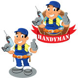 Εργαζόμενος Handyman με τη μηχανή διατρήσεων στο χέρι Στοκ Εικόνες