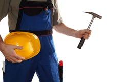 Εργαζόμενο άτομο με το σφυρί Στοκ εικόνα με δικαίωμα ελεύθερης χρήσης