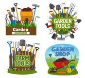 Εργαλεία αγροκτημάτων και κηπουρικής, εξοπλισμός καταστημάτων κήπων διανυσματική απεικόνιση