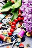 Εργαλεία για τη ραπτική και τον ιώδη κλάδο Στοκ φωτογραφία με δικαίωμα ελεύθερης χρήσης