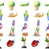 Εργαλεία κήπων Watercolor Το κολάζ σύνθεσης των εγκαταστάσεων, πουλιά και λουλούδια, τελειοποιεί για τις προσκλήσεις θερινού γάμο διανυσματική απεικόνιση