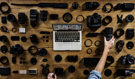 Εργαλεία και arial άγγελος υπολογιστών Στοκ Εικόνες