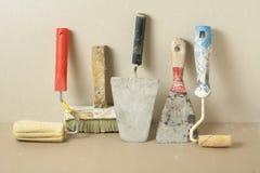 Εργαλεία κατασκευής σε μια σειρά Έννοια κτηρίου και ανακαίνισης Στοκ φωτογραφίες με δικαίωμα ελεύθερης χρήσης