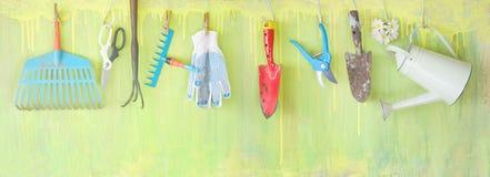 Εργαλεία κηπουρικής, κηπουρική άνοιξης Στοκ Εικόνες