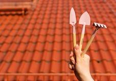 Εργαλεία κηπουρικής στη μικρογραφία Στοκ Εικόνες