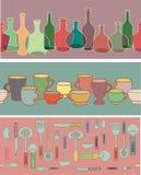 εργαλεία κουζινών φλυτζανιών συλλογής μπουκαλιών Απεικόνιση αποθεμάτων