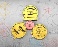 Εργαλεία με το χρυσό σημάδι δολαρίων, τη λίβρα και το ευρο- σύμβολο ελεύθερη απεικόνιση δικαιώματος
