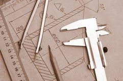 εργαλεία μηχανικών σχεδί&om Στοκ φωτογραφία με δικαίωμα ελεύθερης χρήσης