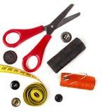 εργαλεία νημάτων ψαλιδιού ραπτικής Στοκ Φωτογραφίες