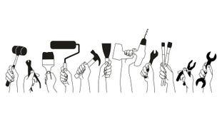 Εργαλεία στα χέρια για να στηριχτεί και την ανακαίνιση που απομονώνεται στο άσπρο υπόβαθρο Διανυσματική απεικόνιση
