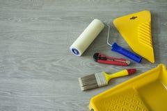 Εργαλεία σύνθεσης για την εγχώρια επισκευή και την εσωτερική ανακαίνιση στο εσωτερικό στοκ φωτογραφία