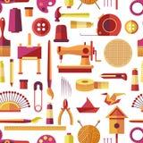 Εργαλεία τεχνών και χειροποίητα όργανα, διάνυσμα στοιχείων χόμπι διανυσματική απεικόνιση