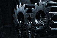 Εργαλεία χάλυβα ισχύος, cogwheels στο μπλε Στοκ εικόνα με δικαίωμα ελεύθερης χρήσης