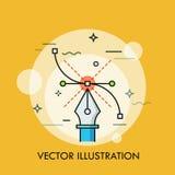 Εργαλείο μανδρών και καμπύλη Bezier Έννοια του σύγχρονου λογισμικού για τη δημιουργία των διανυσματικών απεικονίσεων, γραφικός, τ ελεύθερη απεικόνιση δικαιώματος