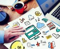 Εργασίας σημειωματάριων σφαιρική έννοια μέσων Comunications κοινωνική Στοκ εικόνες με δικαίωμα ελεύθερης χρήσης