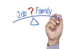 Εργασία ή οικογένεια γραψίματος χεριών Στοκ Εικόνα