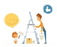 Εργασία αγοριών παιδιών παιδιών πατέρων και γιων από κοινού Εγχώριο σπίτι διανυσματική απεικόνιση