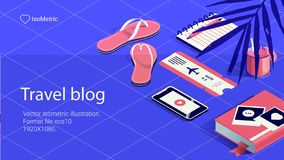 Εργασία απεικόνισης tabel, ταξίδι bloger, εμβλήματα καθορισμένα διανυσματική απεικόνιση