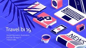 Εργασία απεικόνισης tabel, ταξίδι bloger, εμβλήματα καθορισμένα απεικόνιση αποθεμάτων