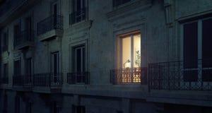 Εργασία αργά τη νύχτα, που χτίζει το εξωτερικό στοκ εικόνες με δικαίωμα ελεύθερης χρήσης