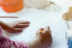Εργασία αρχιτεκτόνων ή μηχανικών στην αρχή Στοκ Εικόνα