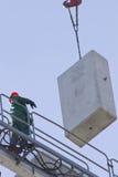 Εργασία για την κατασκευή ενός εμπορικού κέντρου σε Kharkiv Στοκ Εικόνες