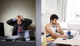 Εργασία γραφείων εναντίον ανεξάρτητου, έννοια Στοκ φωτογραφία με δικαίωμα ελεύθερης χρήσης