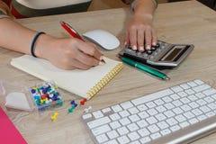 Εργασία γυναικών στην αρχή, καθμένος στο γραφείο, που χρησιμοποιεί τον υπολογιστή Γυναίκα ανώτατων στελεχών επιχείρησης στον εργα στοκ εικόνες