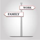Εργασία και οικογένεια επιλογής με τη θέση οδηγών Στοκ Εικόνες