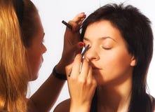 εργασία καλλιτεχνών makeup Στοκ Φωτογραφίες