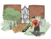 Εργασία κηπουρών νεαρών άνδρων υπαίθρια Παλαιός κήπος με το φράκτη τούβλου και τη σφυρηλατημένη πόρτα ελεύθερη απεικόνιση δικαιώματος