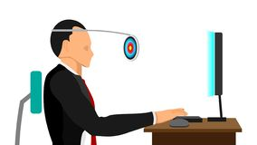 Εργασία με τους στόχους στη σαφή θέα διανυσματική απεικόνιση