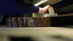 Εργασία με το μύλο ζωνών στο εργαστήριο ξυλουργών απόθεμα βίντεο