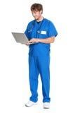εργασία νοσοκόμων lap-top γιατ Στοκ Φωτογραφίες