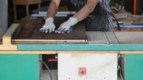 Εργασία ξυλουργών μέρη περικοπών για τα έπιπλα Κοπή πινάκων νιφάδων απόθεμα βίντεο