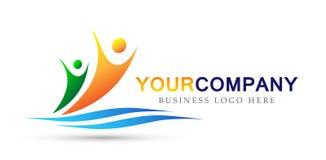 Εργασία ομάδων ένωσης ανθρώπων εικονιδίων οικογενειακών λογότυπων για την υγειονομική περίθαλψη ιατρική οποιοδήποτε σύμβολο λογότ απεικόνιση αποθεμάτων