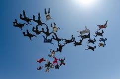 Εργασία ομάδων ανθρώπων ελεύθερων πτώσεων με αλεξίπτωτο Στοκ Εικόνα