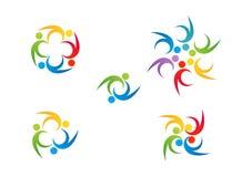 Εργασία ομάδων λογότυπων, σύμβολο εκπαίδευσης, καθορισμένο διανυσματικό σχέδιο εικονιδίων εορτασμού ανθρώπων απεικόνιση αποθεμάτων