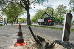 Εργασία στο δρόμο Άμστερνταμ Buitenveldert στοκ φωτογραφία
