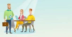Εργασία συνέταιρων στην αρχή απεικόνιση αποθεμάτων