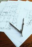 Εργασία 2 σχεδίων αρχιτεκτονικής στοκ εικόνες με δικαίωμα ελεύθερης χρήσης