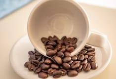 Εργασία τέχνης από τα φασόλια καφέ στο φλυτζάνι στοκ φωτογραφίες