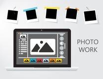Εργασία φωτογραφιών και επιχείρηση εικόνων Ο δημοσιογράφος φωτογραφίζει την απεικόνιση Στοκ Εικόνες